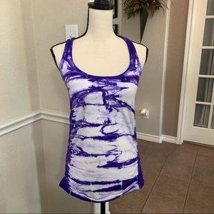 NUX Yoga purple tie dye razorback tank top